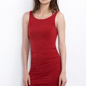 NWT Velvet by G&S Red Santina Ruched dress